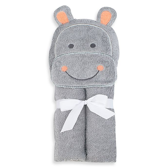 Alternate image 1 for Just Bath by Just Born™ Love to Bathe Hippo Hooded Towel in Grey