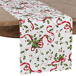 Saro Lifestyle Holly with Ribbon Table Runner in White