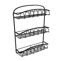 Spectrum Diversified® Steel 15-Jar Wall-Mountable 3-Tier Spice Rack in Black