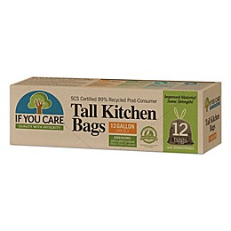 If You Care® 12-Pack 13-Gallon Recycled Tall Kitchen Trash Bags in Black