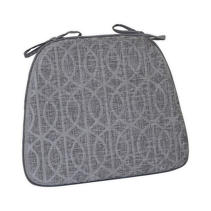 Alternate image 1 for Pressed Chenille Trellis Foam Chair Pad in Grey