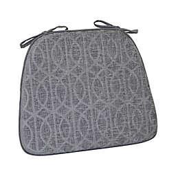 Pressed Chenille Trellis Foam Chair Pad in Grey