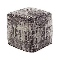 TOV Furniture Chenille Cotton Jacquard Pouf in Grey