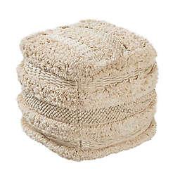 TOV Furniture Cotton Yorba Pouf in Beige