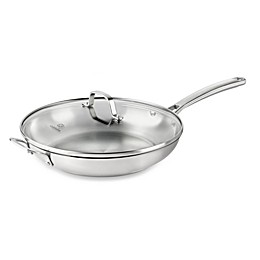 Calphalon® Classic Stainless Steel 12-Inch Covered Fry Pan with Helper Handle