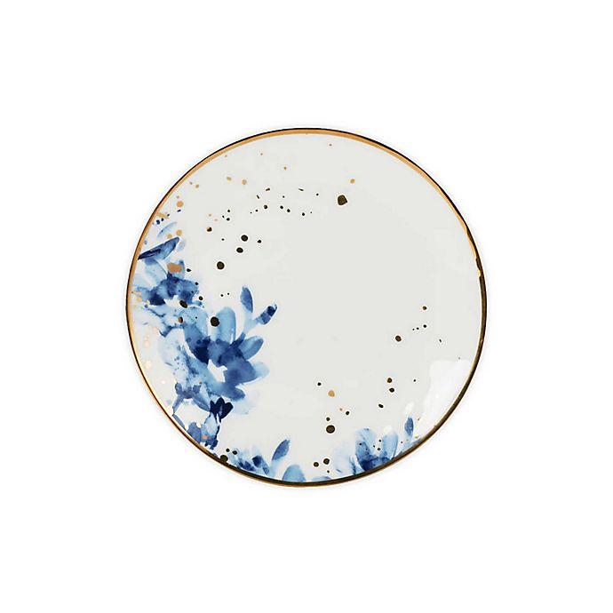 Alternate image 1 for Olivia & Oliver™ Harper Floral Gold Salad Plates in Blue (Set of 4)