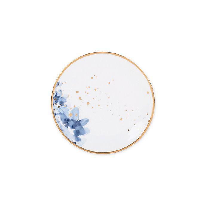 Alternate image 1 for Olivia & Oliver™ Harper Floral Gold Appetizer Plate in Blue