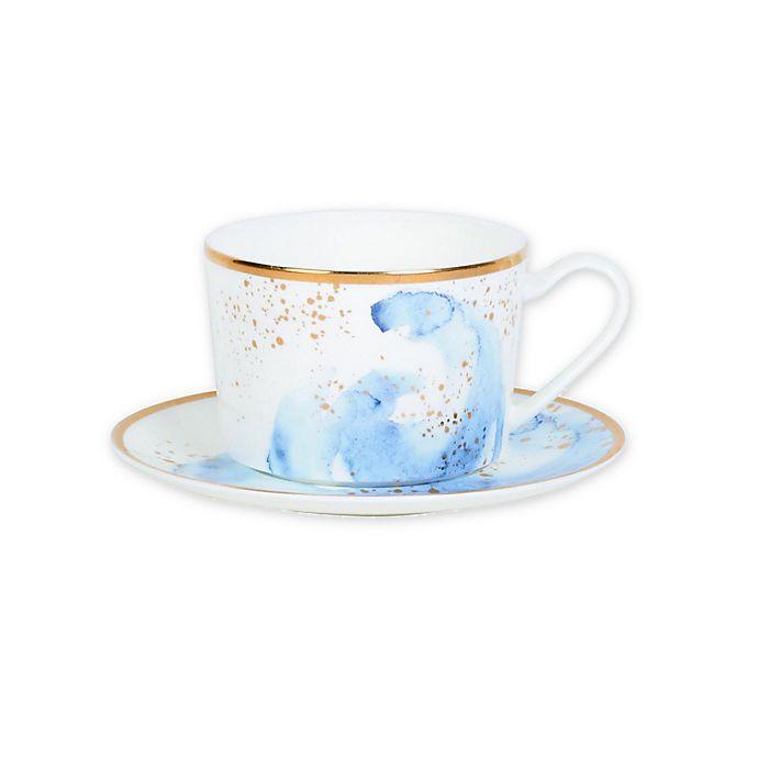 Alternate image 1 for Olivia & Oliver™ Harper Splatter Gold Teacup and Saucer in Blue