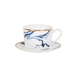 Olivia & Oliver™ Harper Marble Gold Cup and Saucer in Blue