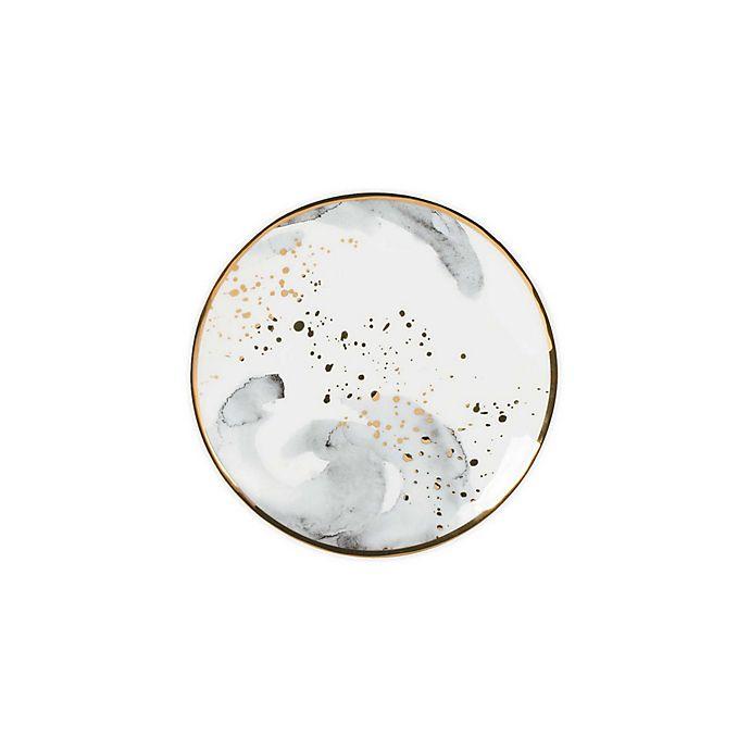 Alternate image 1 for Olivia & Oliver™ Harper Splatter Gold Appetizer Plates in Grey (Set of 4)