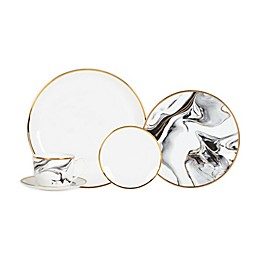 Olivia & Oliver™ Harper Marble Gold 5-Piece Place Setting in Grey