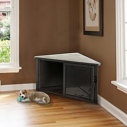 Richell Accent Corner Table Pet Crate in Antique Bronze