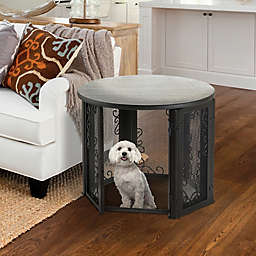 Richell Accent Table Pet Crate in Antique Bronze