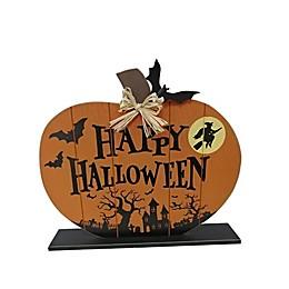 """19.75-Inch """"Happy Halloween"""" Sitting Pumpkin Decoration in Orange"""