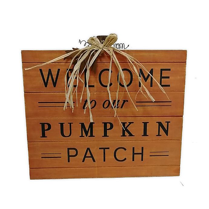 Alternate image 1 for Harvest 16.5-Inch x 18-Inch Pumpkin Greeting Wood Wall Decor