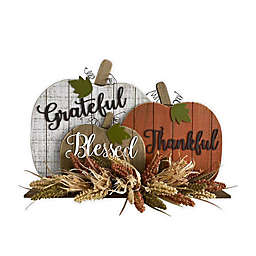 17-Inch Pumpkin Harvest Sitter Decoration