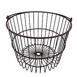 9.65-Inch Metal Storage Basket in Brown