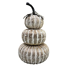 Bee & Willow™ Home 19-Inch Stacked Holiday Pumpkin Decoration in White