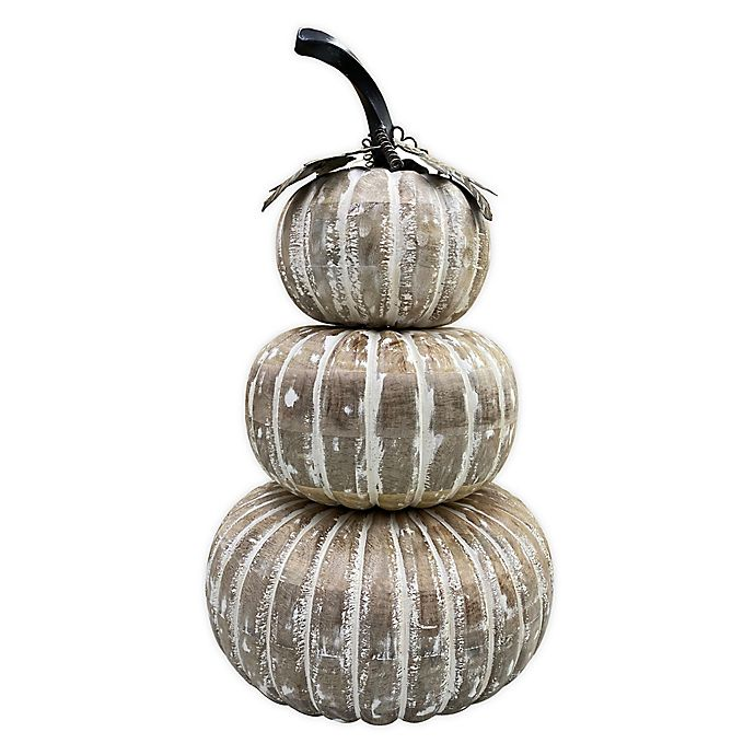 Alternate image 1 for Bee & Willow™ Home 19-Inch Stacked Holiday Pumpkin Decoration in White