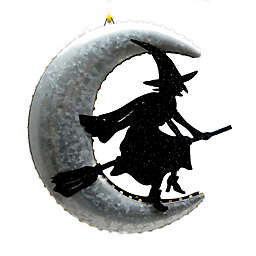 Witch and Moon 10-Inch LED Hanging Wall Decoration
