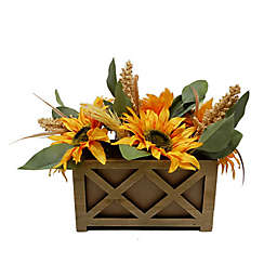 Bee & Willow™ Home 12-Inch Faux Sunflower Centerpiece Decoration with Wood Planter