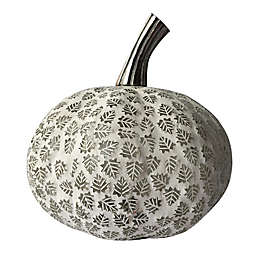 Bee & Willow™ Home 8.5-Inch Mosaic Leaf Glass Pumpkin Decoration in White