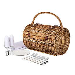 Picnic Time® Barrel Wicker Picnic Basket in Natural