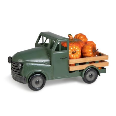 Harvest Metal Truck With Pumpkins Holiday Decoration In Green Bed Bath Beyond