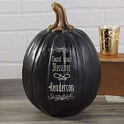 Count Your Blessings Personalized Pumpkin Collection in Black