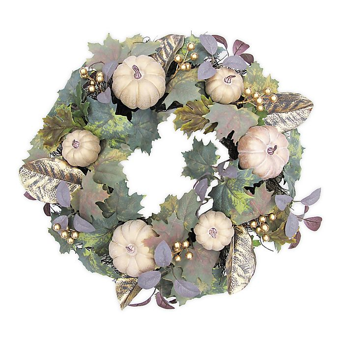 Alternate image 1 for Bee & Willow™ Home 24-Inch Glamorous Pumpkin Wreath in Gold