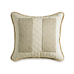 HiEnd Accents Fairfield Herringbone and Linen Pocket Throw Pillow in Sand