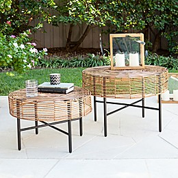 Southern Enterprises Mandria 2-Piece Wicker Round Outdoor Table Set