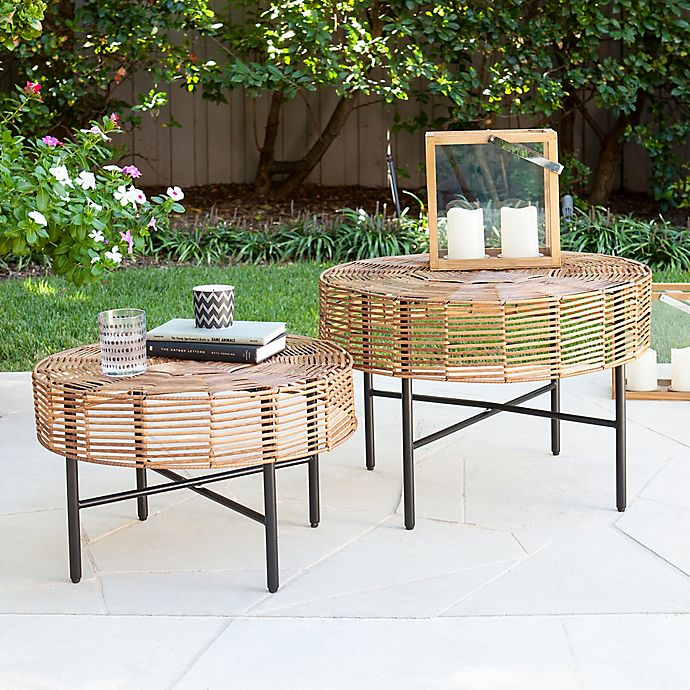 Alternate image 1 for Southern Enterprises Mandria 2-Piece Wicker Round Outdoor Table Set