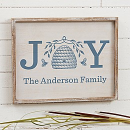 Bee & Willow™ Home Joy Beehive Personalized 14-Inch x 18-Inch Barnwood Wall Art Collection