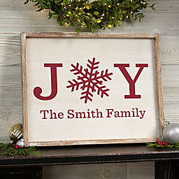 Bee & Willow™ Home Joy Snowflake Personalized 14-Inch x 18-Inch Barnwood Art Collection