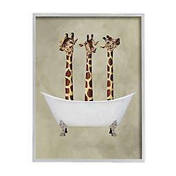 Three Giraffes In a Bathtub 16-Inch x 20-Inch Framed Wall Art in White