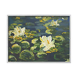 Lily Pad Flowers in Water 11-Inch x 14-Inch Framed Wall Art in White