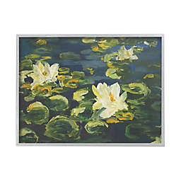 Lily Pad Flowers in Water 16-Inch x 20-Inch Framed Wall Art in White