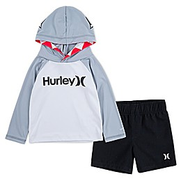 Hurley® 2-Piece Shark Bite Hooded Top and Trunks Set