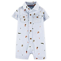 carter's® Animal Button-Front Romper in Denim