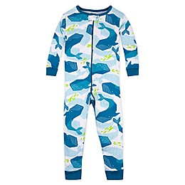 Lamaze® Whales Organic Cotton Footless Stretchie in Blue