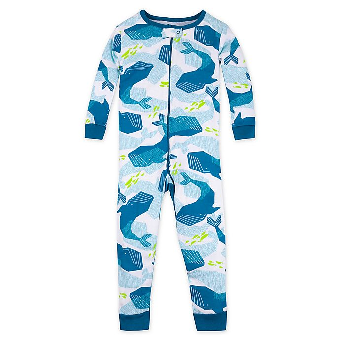 Alternate image 1 for Lamaze® Whales Organic Cotton Footless Stretchie in Blue