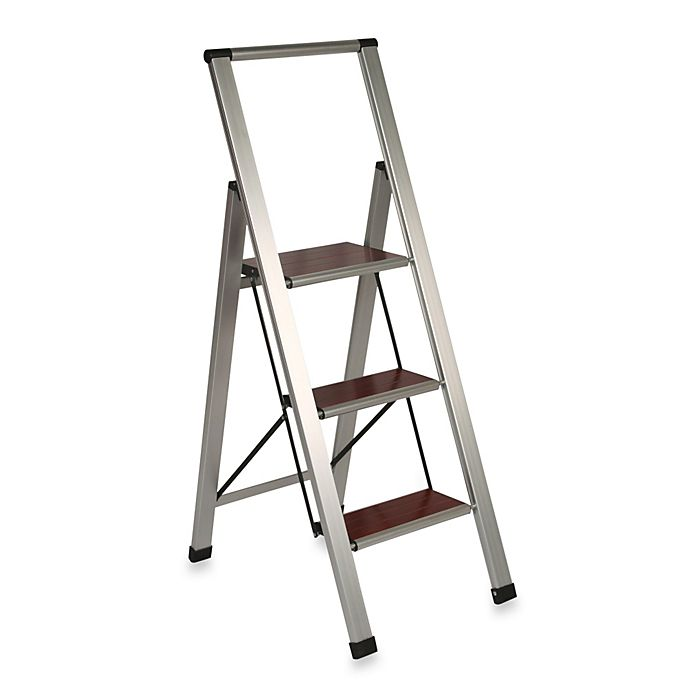 Awesome 3 Step Aluminum And Wood Ladder Bed Bath Beyond Gmtry Best Dining Table And Chair Ideas Images Gmtryco