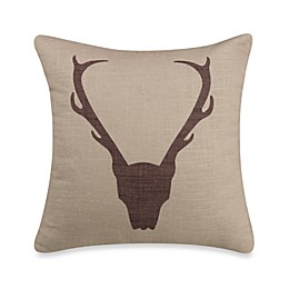 HiEnd Accents Antlers Linen Square Throw Pillow
