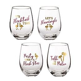 Lillian Rose™ Flamingo Sayings Stemless Wine Glasses (Set Of 4)