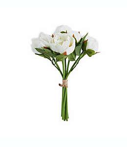 Ramo de peonías artificiales Elements de 33.02 cm en blanco