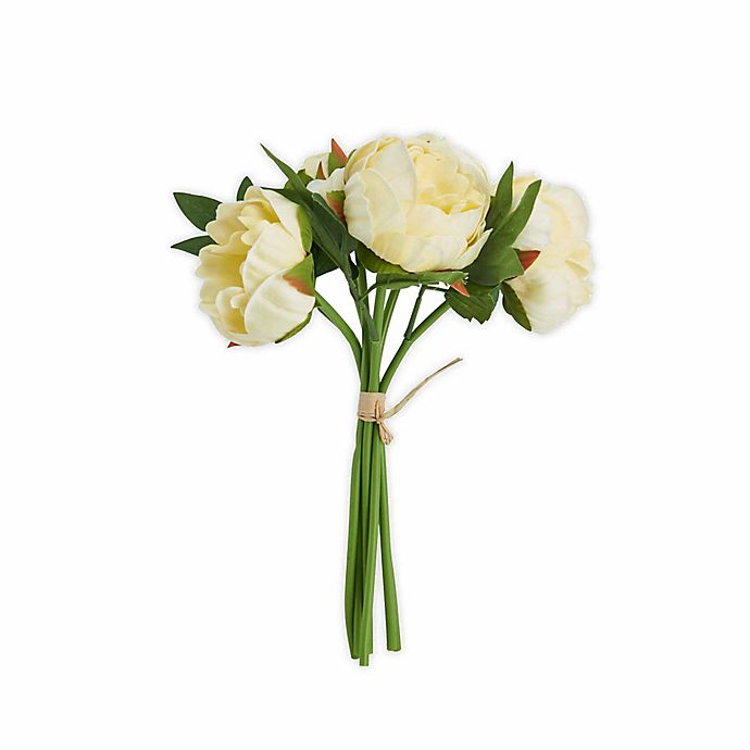Alternate image 1 for Elements 13-inch Faux Peony Bouquet in Light Yellow