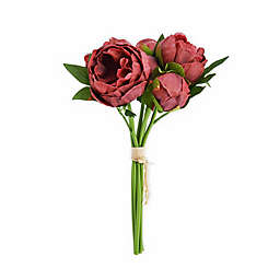 Elements 13-inch Faux Peony Bouquet in Rosewood