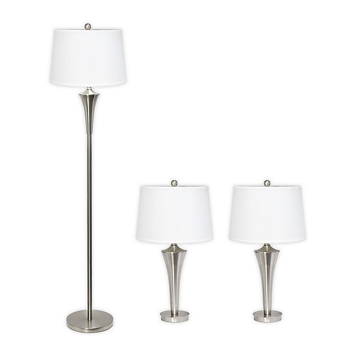 Alternate image 1 for Elegant Designs 3-Piece Tapered Table & Floor Lamp Set in Brushed Nickel with Fabric Shades