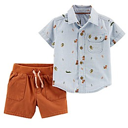 carter's® 2-Piece Animal Button-Down and Short Set in Blue